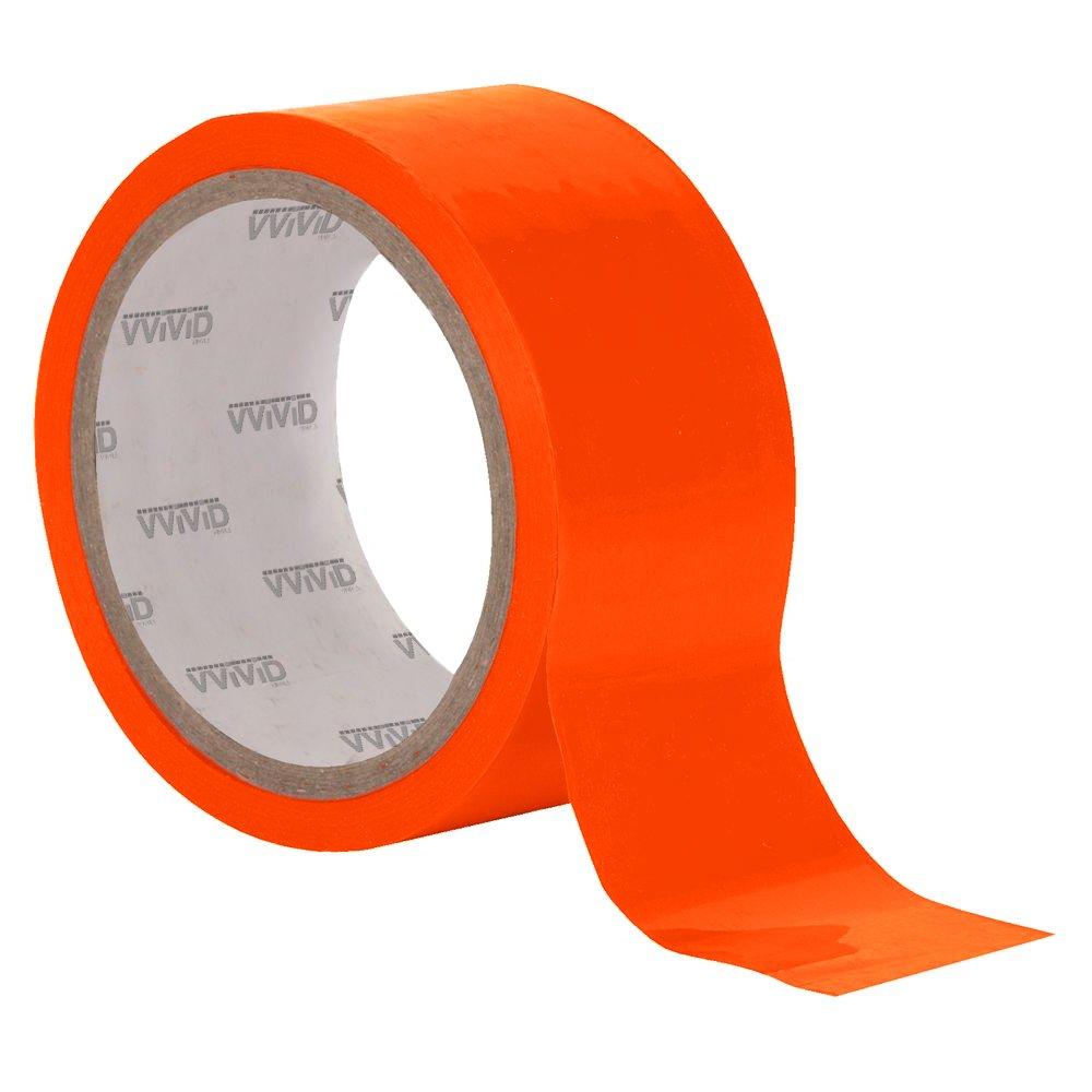 4 x 25ft VViViD DECO65 Neon Fluorescent Orange Permanent Adhesive Craft Vinyl Tape Roll