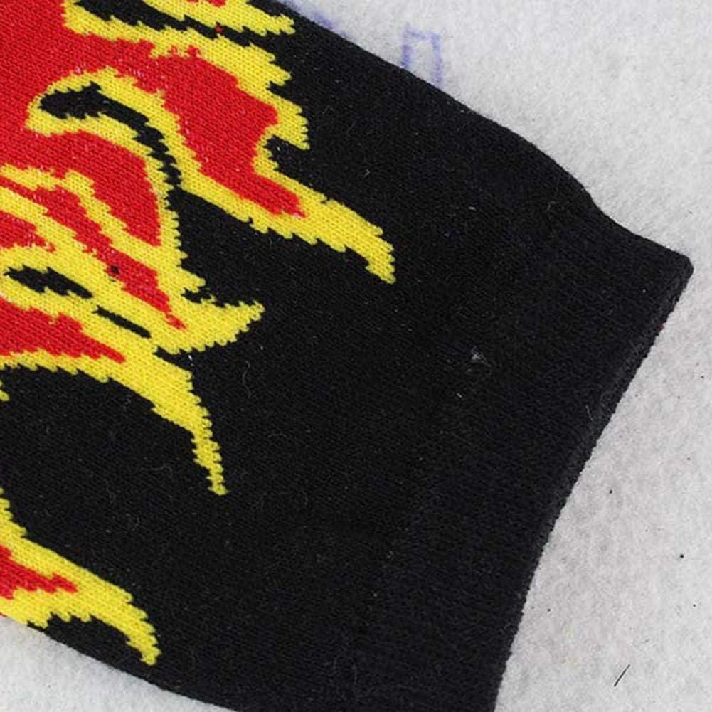 domiluoyoyo Calcetines Unisex con Estampado de Llamas Calcetines de Moda Hip Hop Skateboard Calcetines Deportivos de algod/ón Transpirable Suave