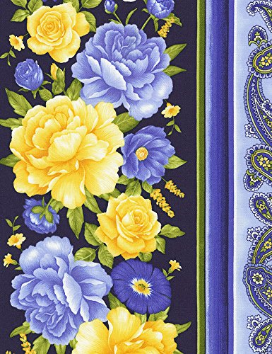 Beautiful Blue, Yellow Floral, 11-inch Border Stripe, Timeless Treasures, Angelica, Chong-a-Hwang, C6361-NVY, by The Yard ()