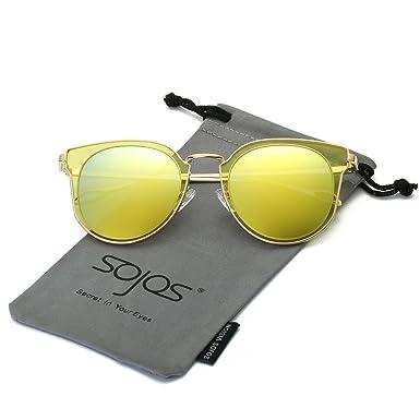 SojoS Ronde Vintage Rétro Miroir Anti-UV Lunettes de Soleil Unisexe Polarisées SJ1014 Cadre/Rose Lentille 1a9OoJi