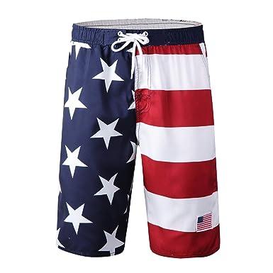5e1cfad0b1e85 XIONG TAI Mens American US Flag Swim Trunks Quick Dry Summer Surf ...