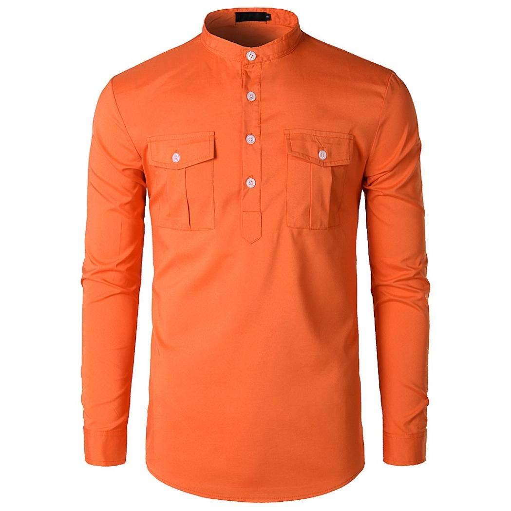 kaifongfu Pollover Shirt,Men Long Sleeve Fit Slim Collar Solid Pocket Top (Orange,S)