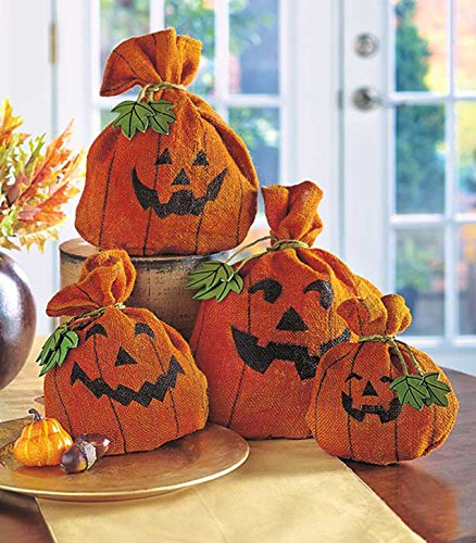 Burlap Pumpkin Set of 4 Halloween Decor Decorative Burlap Sacks