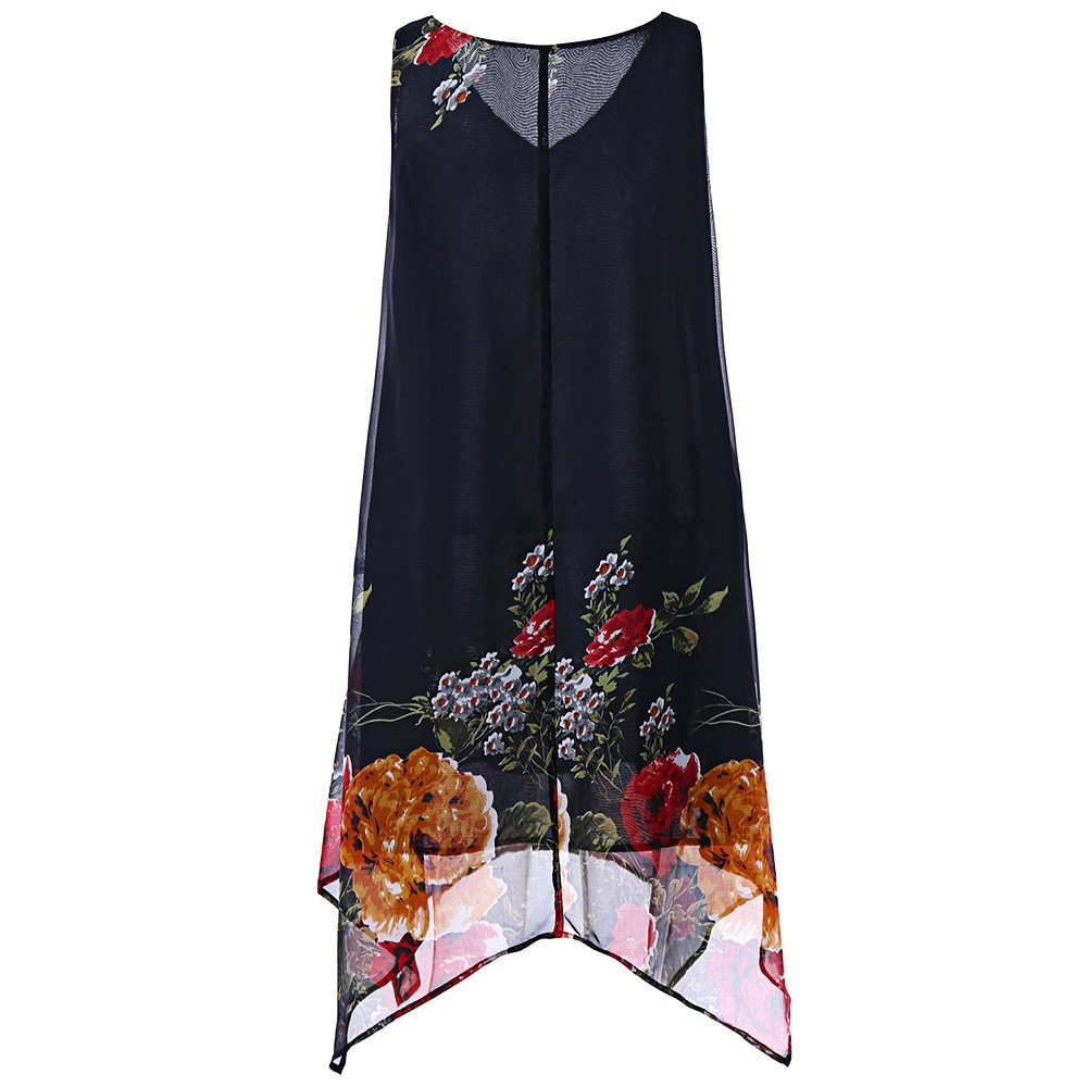 Dianli Women Vintage Boho Summer Dress Plus Size V-Neck Floral Handkerchief Chiffon Dress Female Sleeveless Boho Elegant Dresses