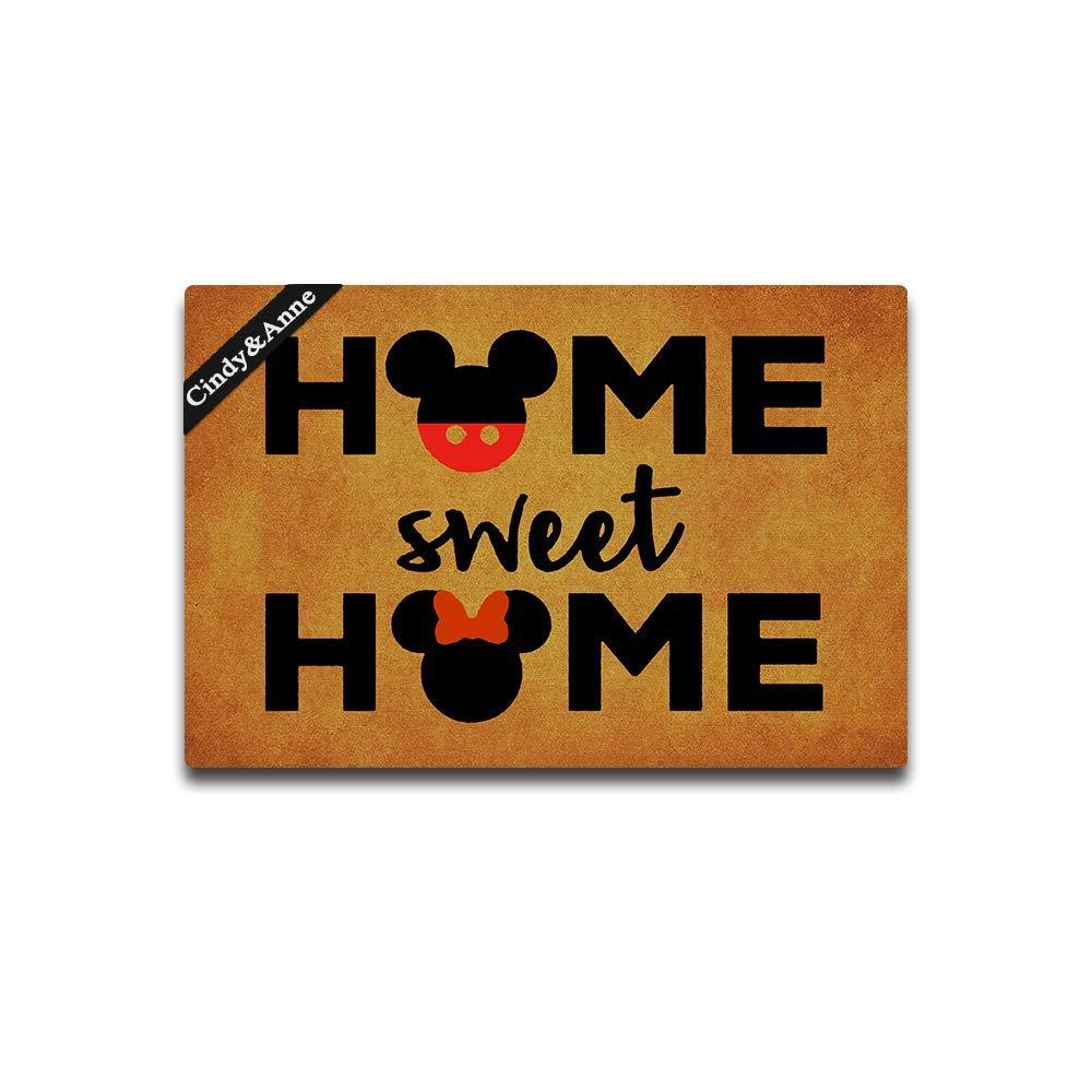 Cindy&Anne Tdou Home Sweet Home Cute Doormat Entrance Floor Mat Funny Doormat Door Mat Decorative Indoor Outdoor Doormat 23.6 by 15.7 Inch Machine Washable Fabric Top