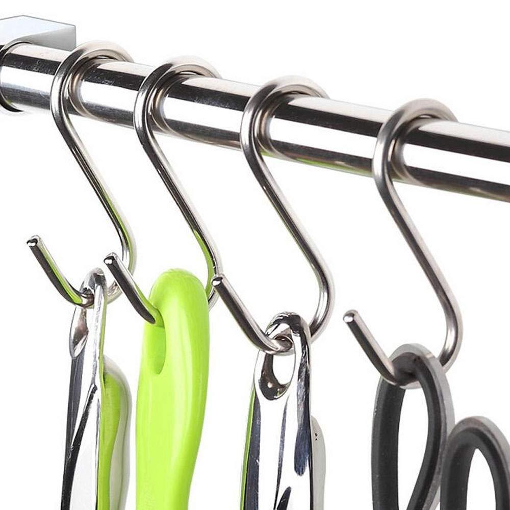 SRIVILIZE888 Pan Hooks Set of 20 Pc Hanger 3 inch SHooksforHangingpotsandPans Bathroom Kitchen Hanging Accessories Stainless Steel