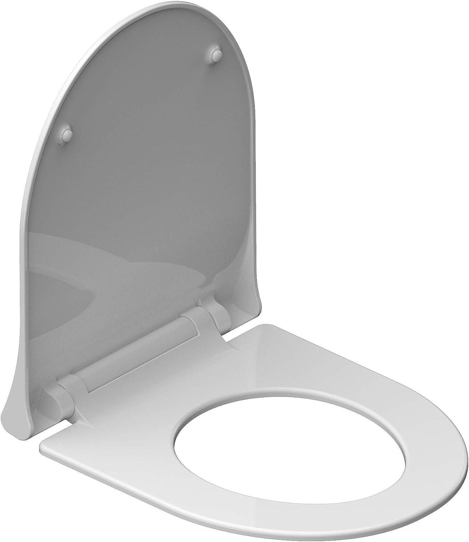 instmaier D-FORM Slim //// Duroplast WC-Sitz mit Absenkautomatik //// Moderne Slim Form //// Schnelle Reinigung durch Schnellverschluss //// Toilettendeckel //// Einfache Montage //// Wei/ß