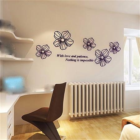 XJKLFJSIU 3D Camera da Letto Comodino Adesivi Murali Tridimensionali Che  Vivono Adesivi Murali Camera Fiori Decorativi, 220 * 80Cm Nero B