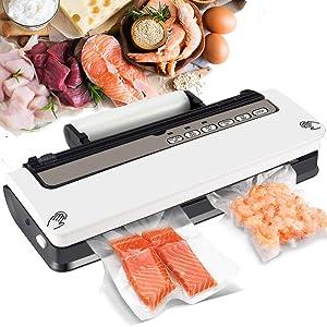 Vacuum Sealer Machine, Food Sealer Vacuum Packing Machine, Vacuum Sealer with Cutter, 2 Heating Wires, Dry and Wet Modes, 18 Vacuum Sealer Bags, White