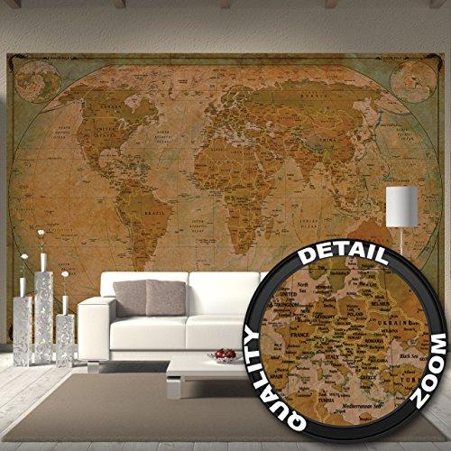 Fototapete Historische Weltkarte Wand-dekoration - Wandbild Retro Poster-Motiv by GREAT ART (336 x 238 cm)