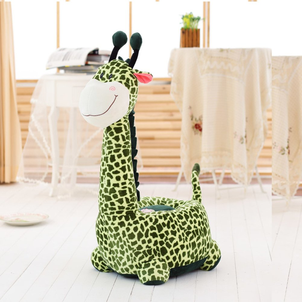 D&L Kids Giraffe Sofa Stool,Creative Cute Animals Lazy Seat Chair Upholstered Shoe Stool-G L70xW42cm