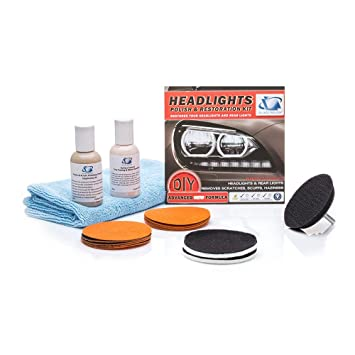GLASS POLISH Headlights and Tail-Lights Restoration DIY Repair Kit -  Removes Scratches, Restore Dull, Faded, Discoloured Headlights