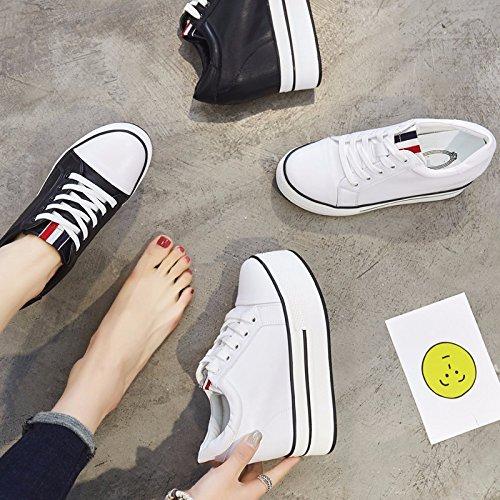 GTVERNH Mujer Zapatos/En Primavera Y Otoño El Interior Es Mayor De 10 Cm De Tacon Alto Muffin Fondo Grueso Parte Baja Solo Zapato Cabeza Redonda Corbata Zapatos De Mujer. black
