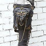 Steampunk Bag Steam Punk Retro Rock Gothic Goth Shoulder Waist Bags Packs Victorian Style for Women Men + leg Thigh Holster Bag (Onesize, Skull Punk Rock Bag)