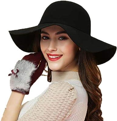 Bowler Fedora Hat Cap gift Floppy Cloche Sun Vintage Women/'s Wide Brim Wool Felt