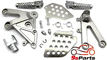SILVER 9sparts OEM Replacement Passenger Front Foot Rest Pegs Bracket Rearsets for 2003 2004 2005 2006 HONDA CBR 600RR CBR-600RR CBR 600 RR
