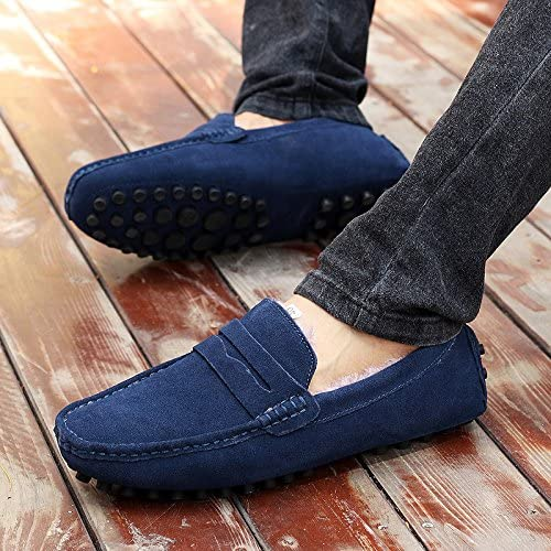 Abby 2088W Mens Plus Wool Loafers Flat Stylish Casual Slip-on Moccasins Driving Sneakers
