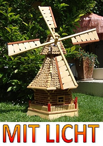 XXL Windmühle, windmühlen garten, mit Holz Schindeldach,MIT PREMIUM-2X-SOLARBELEUCHTUNG als Windmühlen-Zubehör,WMS130ng-MS 1,30 m groß natur geflammt