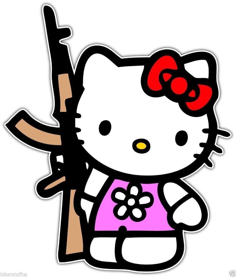 698ada57c Amazon.com: Hello Kitty with AK-47 Bumper Sticker Toolbox Sticker:  Automotive