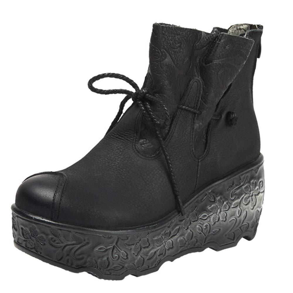 Frauen Plattform Martin Stiefel Aus Echtem Leder Wedges Ethnischen Stil Schnürschuhe High Heel Ankle Stiefel Für Casual Work Damen Schuhe  | Um Zuerst Unter ähnlichen Produkten Rang