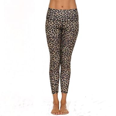 Vectry Pantalones Mujer Leopard Cheetah Print Pocket Cintura Alta ...