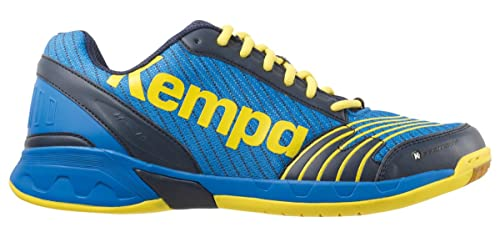 Kempa Attack Three, Zapatillas de Balonmano Unisex Adulto, Azul (Bleu Profond/Jaune Citron), 45 EU: Amazon.es: Zapatos y complementos