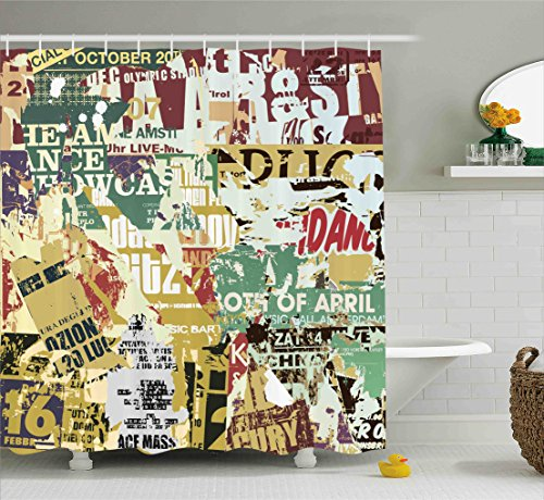 Ambesonne Retro Shower Curtain, Grunge Style Collage Print of Old Torn Posters Magazines Newspapers Paper Art Print, Fabric Bathroom Decor Set with Hooks, 70 Inches, Multicolor
