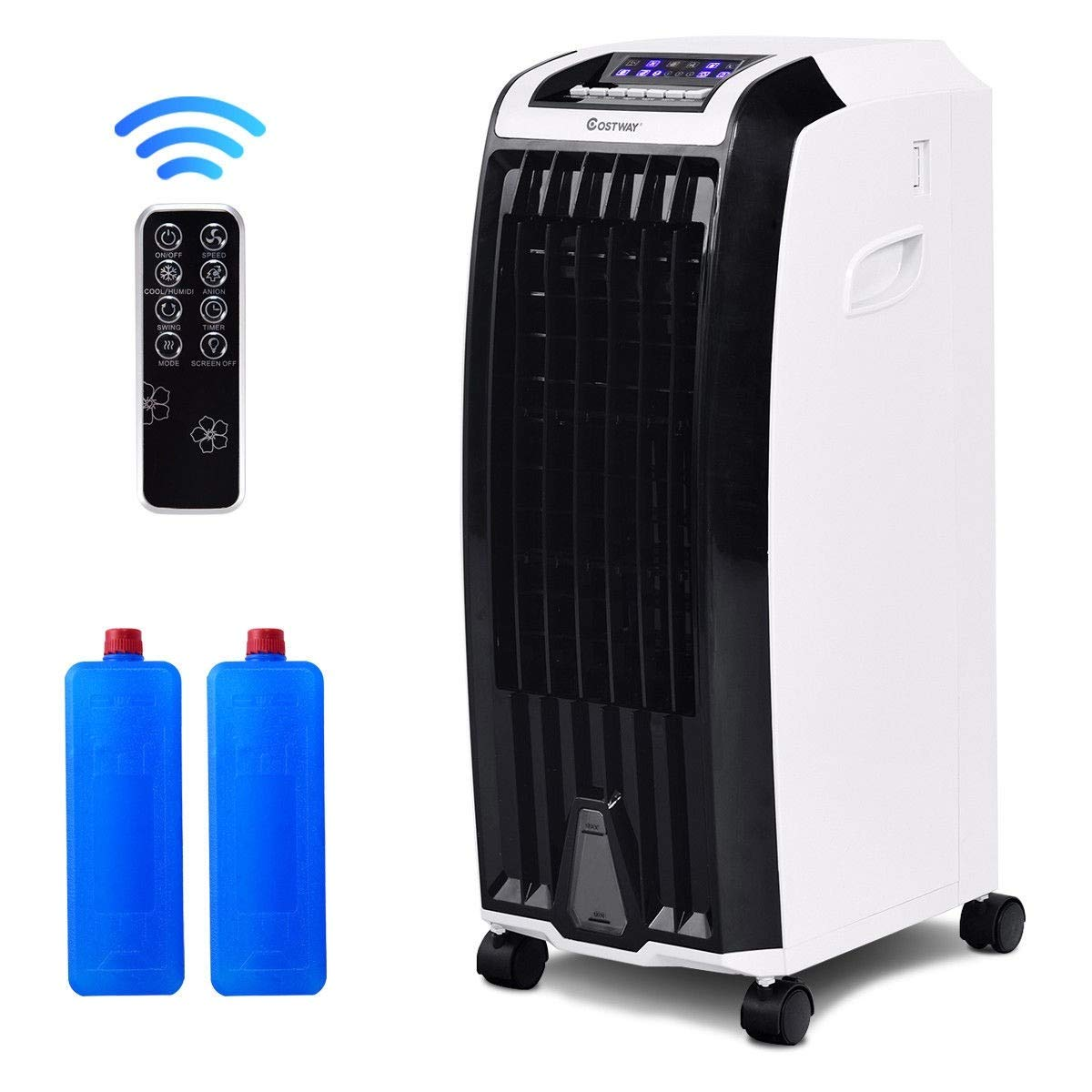 oolsempire Air Conditioner Cooler with Fan /& Humidifier Anion Portable Evaporative Quiet Electric Fan with Remote Control and Ice Crystal Box 28 H