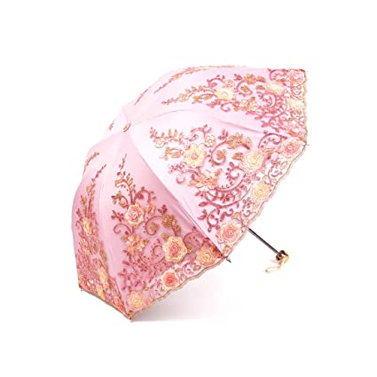 Color : Silver Small and Convenient 25cm Hexiansheng Folding Travel Umbrellas Embroidered Umbrellas UV Protection Suitable for Ladies and Men