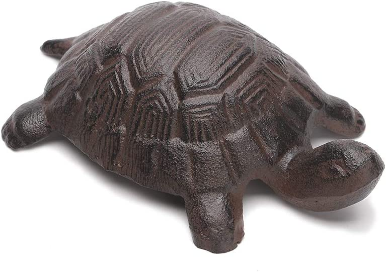 BRASSTAR Cast Iron Turtle Statue Home Office Desk Garden Lawn Decor Paperweight Collection Tortoise Figurine Animal Lover Gift PTWQ012