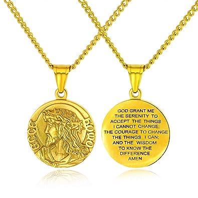 Amazon.com: Jesús Biblia Verso Collar de oro para hombre con ...