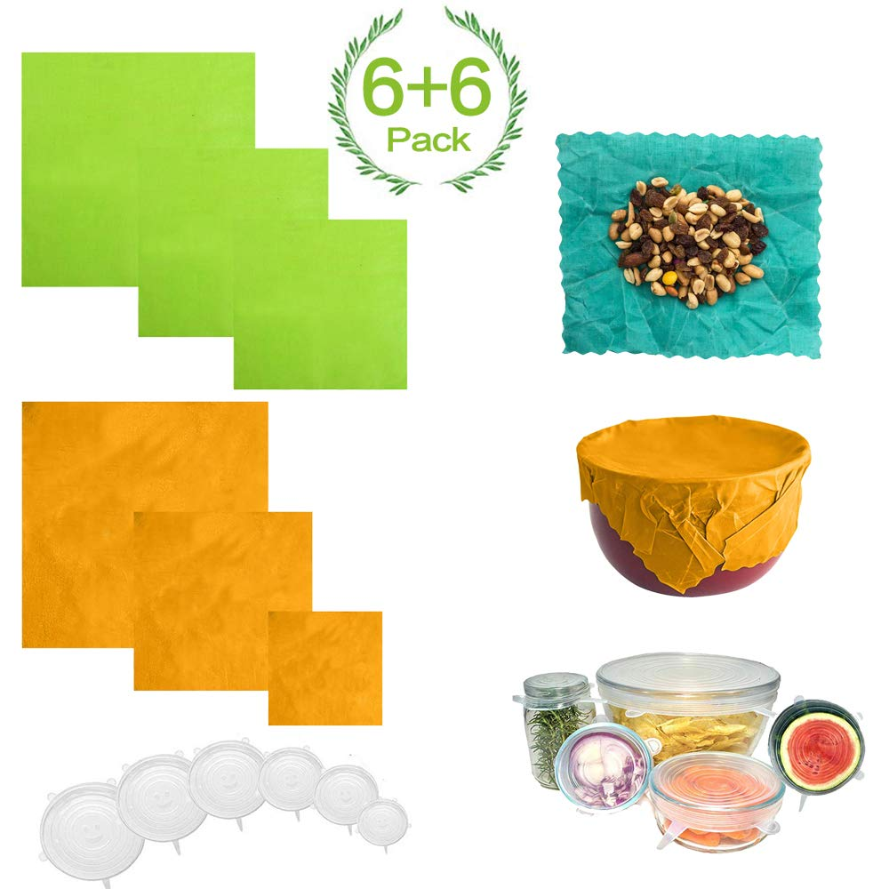 ARCBLD Beeswax Wraps and Silicone Stretch Lids - Sustainable Plastic Free Food Storage for Fruits & Bread and Bowls, 6 Pack Food Wraps + 6 Pack Silicone Lids