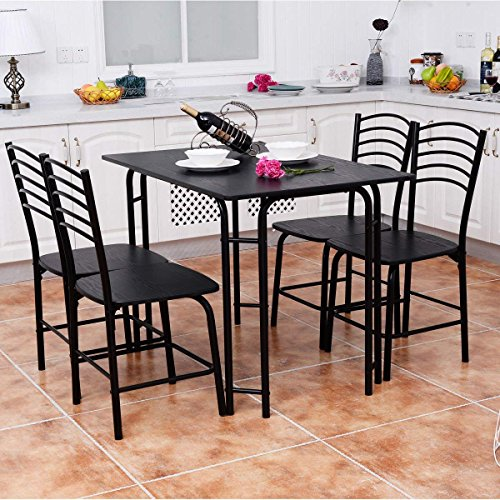 Giantex 5 PCS Dining Table And Chairs Set, Wood Metal Dining Room Breakfast Furniture Rectangular Table with 4 Chairs, Black (Style 2) by Giantex