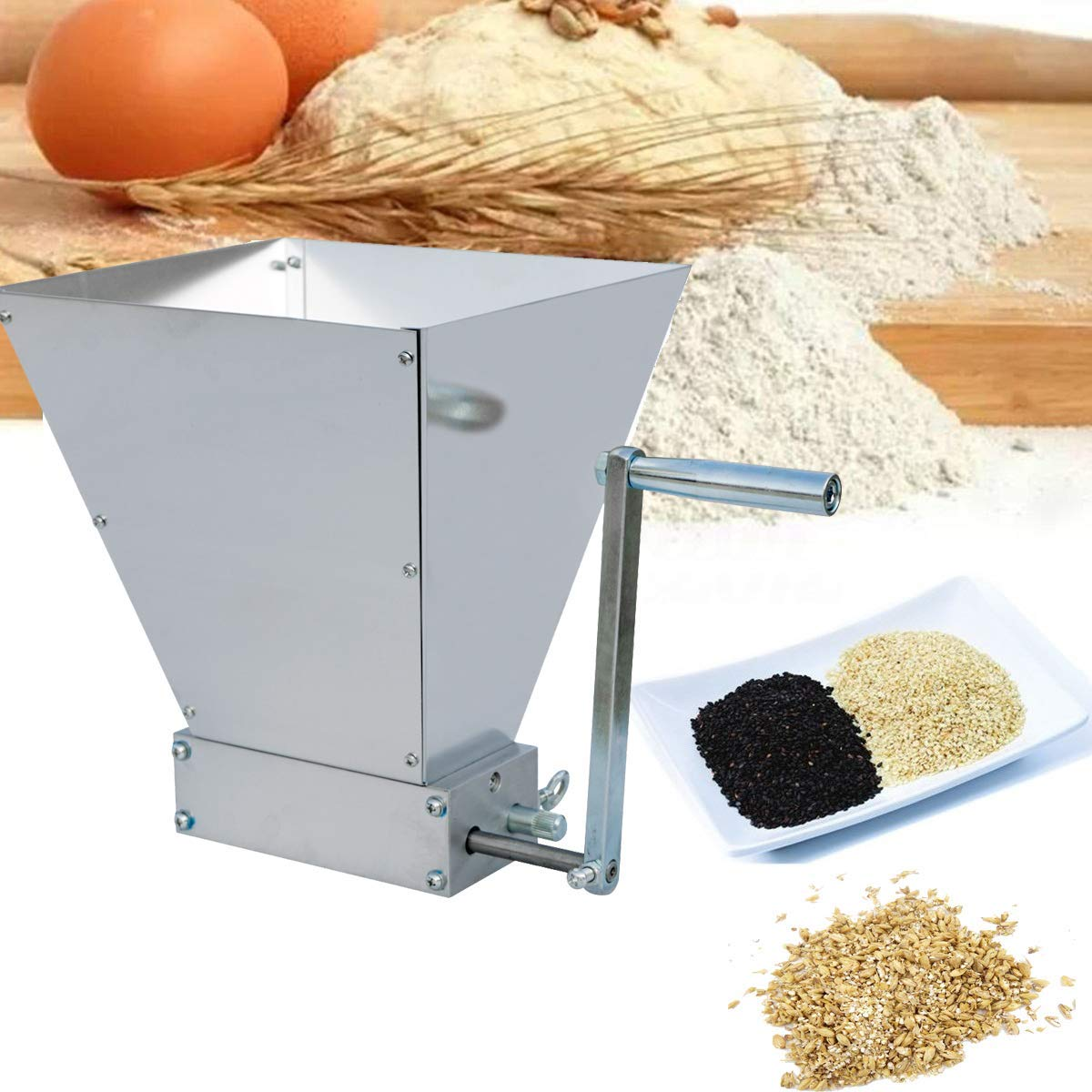 ECO-WORTHY Barley Crusher 2-Roller Malt Mill Grinder for All-Grain Home Brewing Beer 7.7 lbs Capacity by ECO-WORTHY (Image #7)