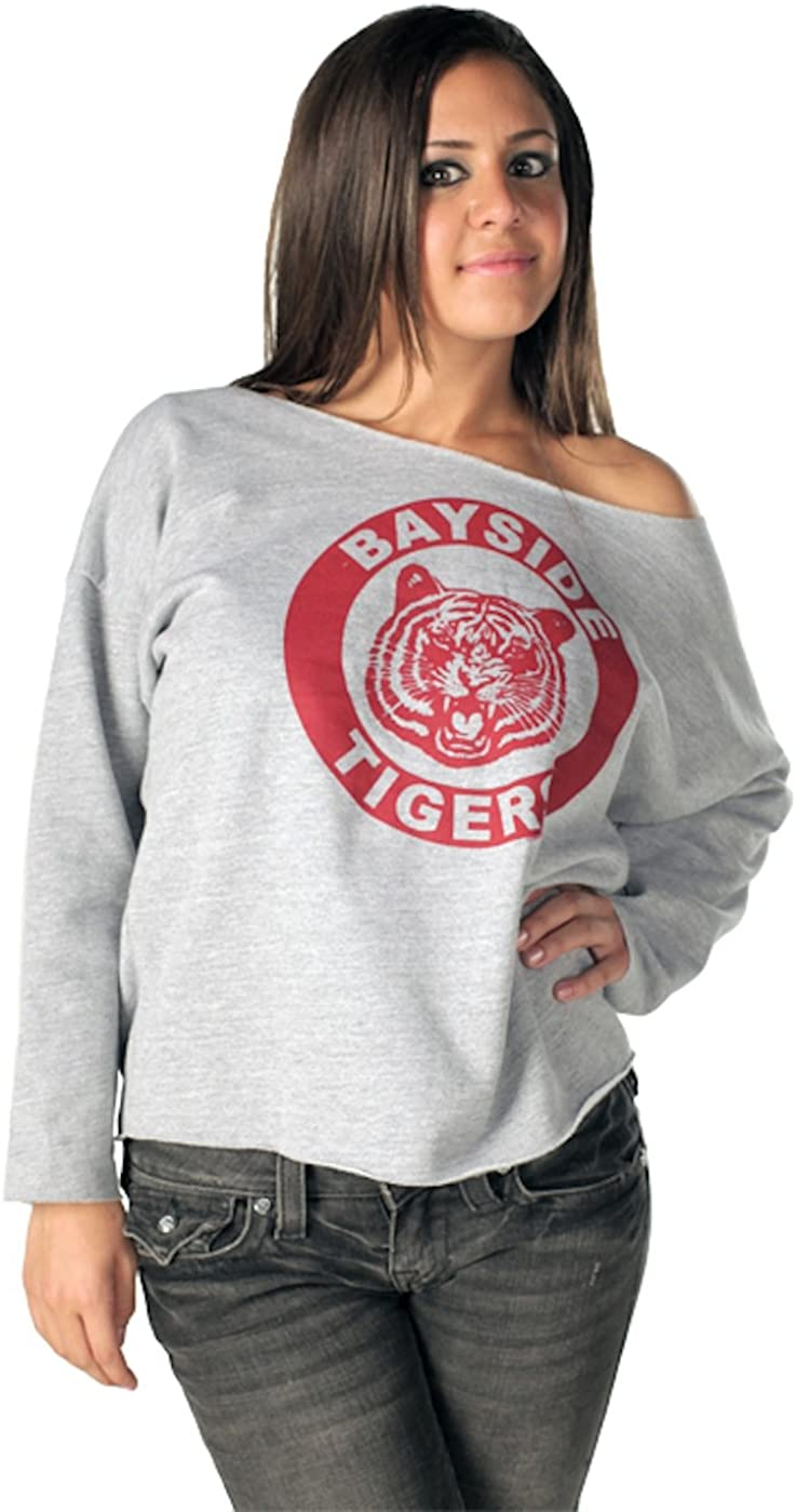 Amazon Com Saved By The Bell Kelly Kapowski Bayside Off The Shoulder Gray Juniors Sweatshirt Clothing