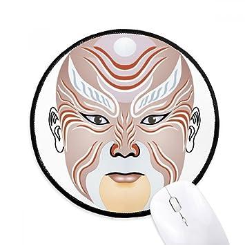 DIYthinker Máscara de la ópera de Pekín colorido Weishuihe Ronda antideslizante tapetes de ratón Negro Titched