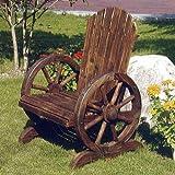CARTWHEEL - Solid Wood Garden Chair / Seat - Burntwood