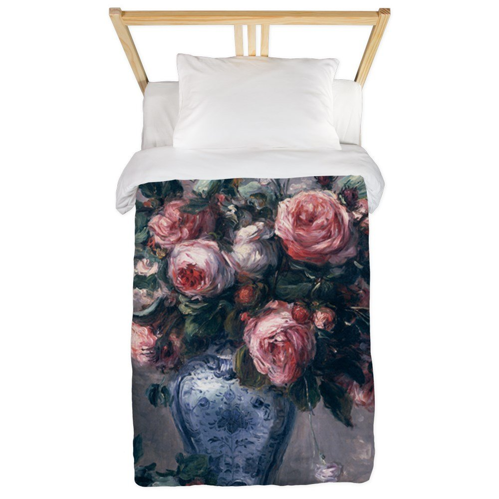 CafePress Vase of Roses @Oil On Canvasa - Twin Duvet Twin Duvet Cover, Printed Comforter Cover, Unique Bedding, Microfiber