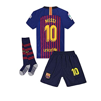 hot sale online 8c796 babda AYCJK33 Barcelona Messi #10 Kids/Youth Home Soccer Jersey & Shorts & Socks  2018-2019 Red/Blue