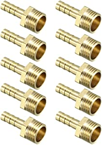 YeVhear Brass Barbed Hose Connector Adapter 6mm x 1/4 PT Male Pipe 10pcs