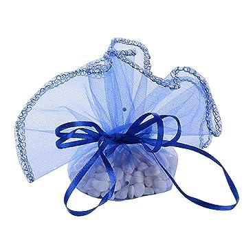 50Pcs Bolsas Bolsitas Saquitos Organza Boda Diámetro 26cm Azul real para Joyas Regalo Recuerdo Arroz Confeti Detalles Invitados Boda Navidad Fiesta ...