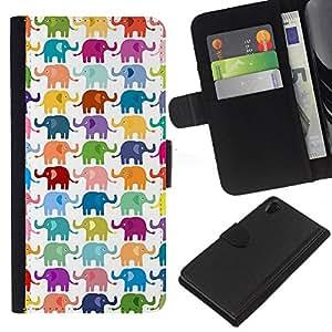KLONGSHOP // Tirón de la caja Cartera de cuero con ranuras para tarjetas - Colores en colores pastel Modelo blanco - Sony Xperia Z2 D6502 //