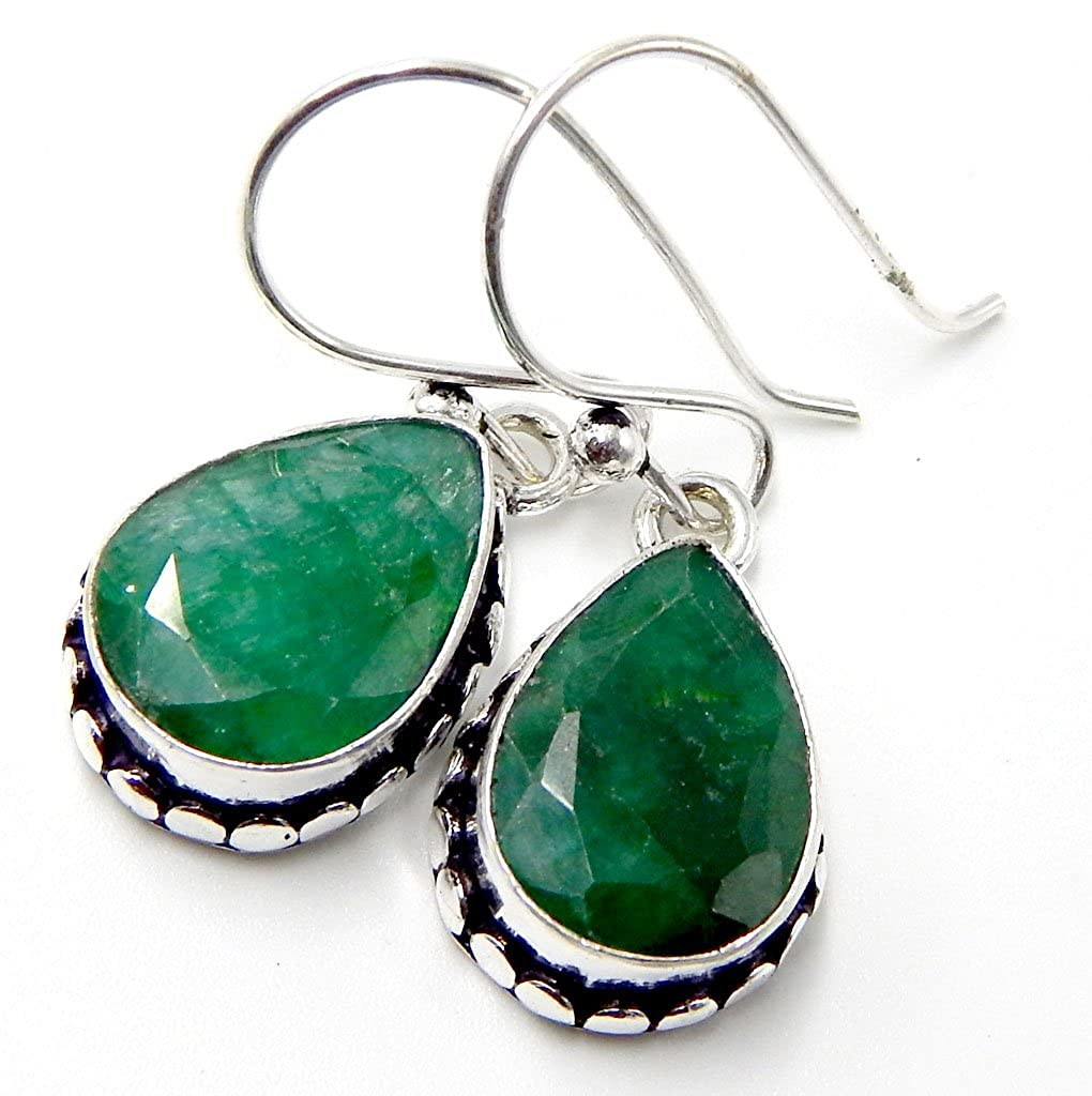 Emerald Sapphire 925 Sterling Silver Plated Handmade Jewelry Earrings 8 Gm AK1