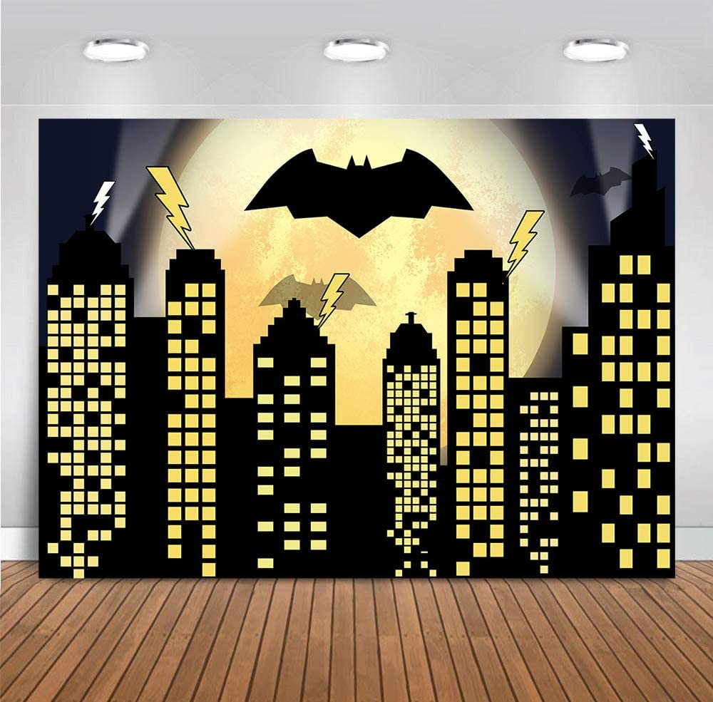 Night Cityscape Super Heroes Photo Background Vinyl 7x5ft Yellow Full Moon Bat Photography Backdrop Boys Kids Birthday Party Banner Decorations Photo Booths Studio Props Supplies