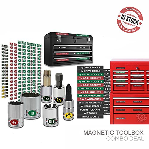"Steellabels - Combo Deal - Magnetic Toolbox Labels plus our best ""Master"" Set of Socket Labels (green series) for Metric, Torx & SAE tools, fits all Craftsman, Snap On, Mac - Memories Match Tool"