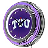 NCAA Texas Christian University Chrome Double Ring Neon Clock, 14''