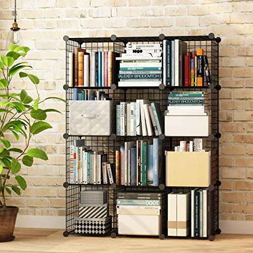 KOUSI Wire Cube Storage Metal Shelving Unit Bookcase DIY Closet Organization System, 12 Grids Black