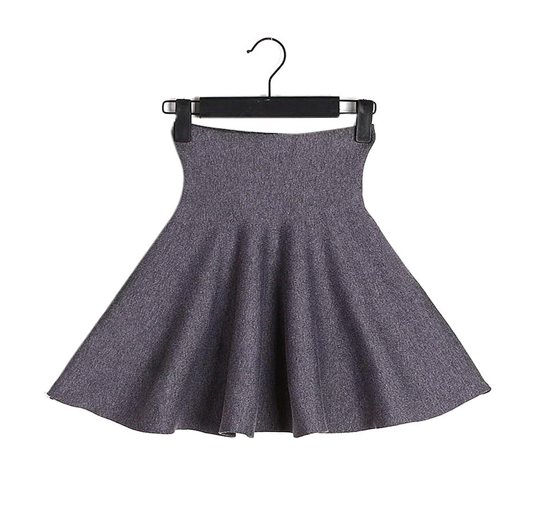 Jutao Women's Basic Pleated Skirt Stretch High Waist Knee Length Short Skirt