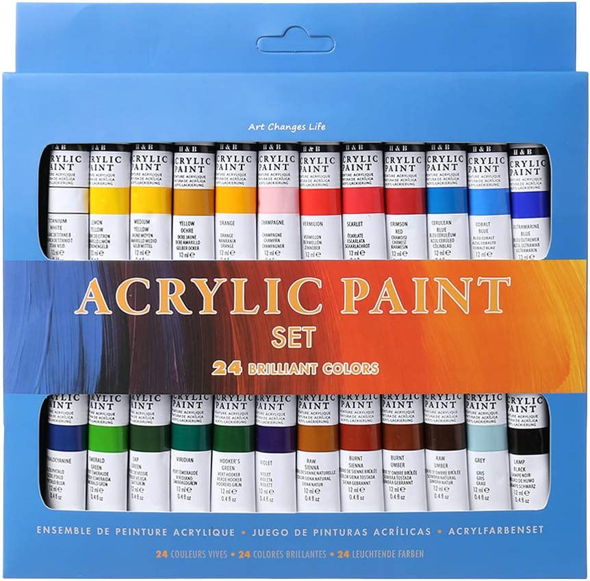 S-TROUBLE - Juego de 24 pinturas acrílicas de 12 ml para dibujo, pintura, pigmento, pintura de pared pintada a mano para manualidades artísticas