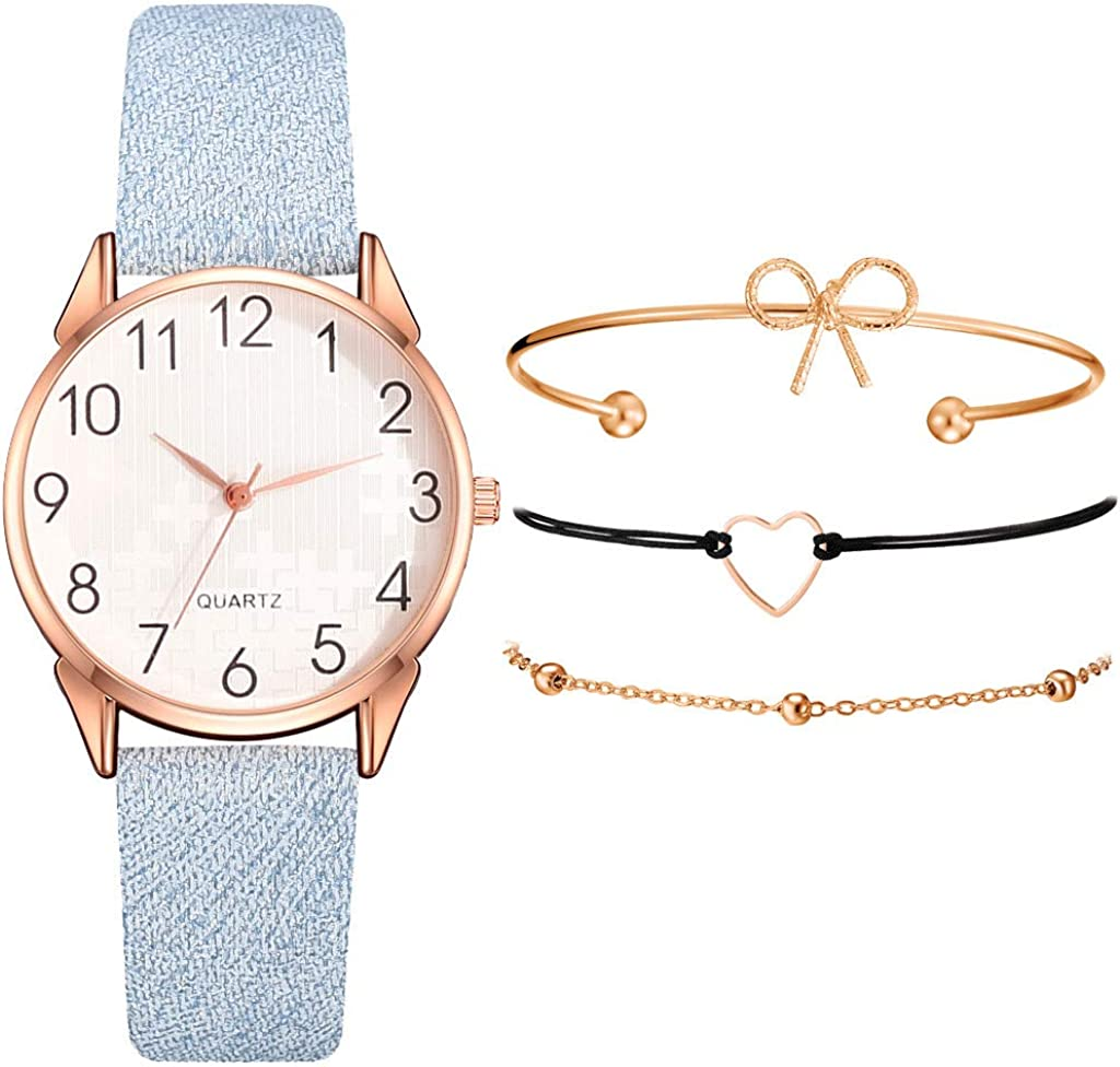 Sets de Reloj y Pulsera Mujer Casual Moda Relojes de Cuarzo para Mujer Adolescentes Chica Regalo de San Valentín para Amante,Relojes 1PC y Pulsera 3PC